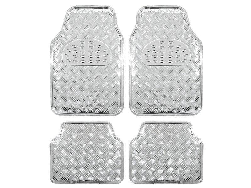 Covorase auto imitatie aluminiu Silver, model universal 4buc