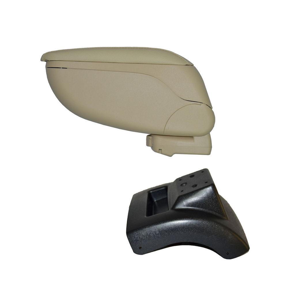 Cotiera pentru Ford Focus 2 2004- , rabatabila cu capac culisabil imitatie piele , Culoare Consola CREM si suport Negru