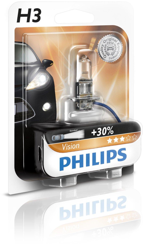 Bec auto cu halogen pentru proiector Philips Vision +30% H3 12V 55W PK22S , 1 buc.