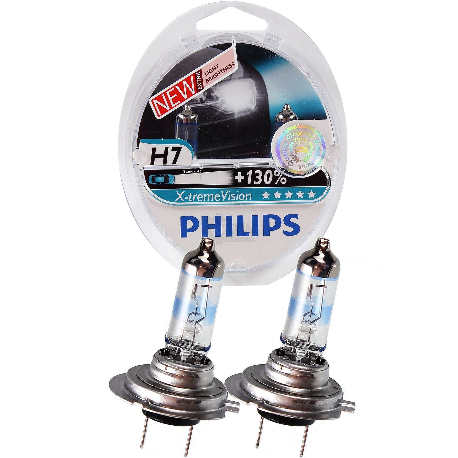 Set 2 becuri auto cu halogen pentru far Philips X-treme Vision +130% mai multa lumina H7 12V 55W PX26D