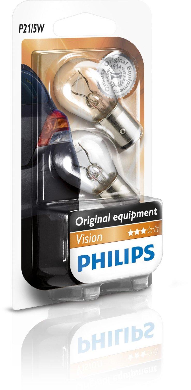Set 2 becuri auto Philips Vision pentru stop frana 12V P21/5W BAY15D alb
