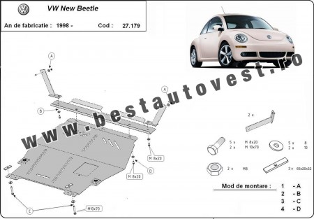 Scut motor metalic Vw New Beetle 1998- motorizare 1.6,1.8Turbo,2.0