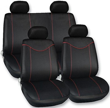 Set huse scaune fata - spate auto VW GOLF 4, Streetwize Racing Style rosu 11 piese