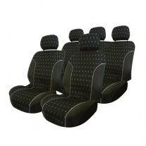 Set huse scaune auto Ford Focus 1-2 pana in 2010, Carpoint Charcoal 9 buc (huse fata + bancheta + 5 tetiere)