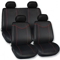 Set huse scaune fata - spate auto Ford Fiesta din 2000 -, Streetwize Racing Style rosu 11 piese