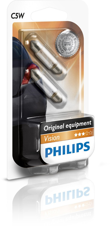 Set 2 becuri auto Philips Vision 12V C5W SV8.5 5W 11x35mm alb tip sofit