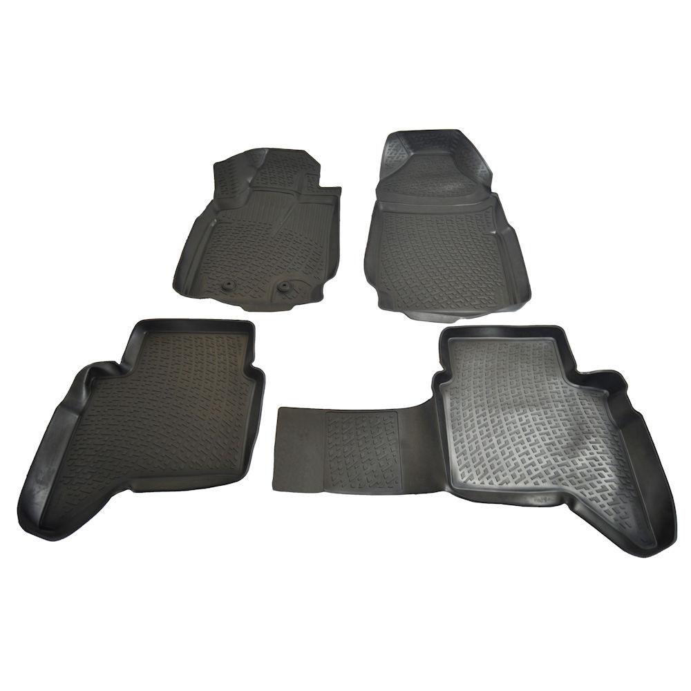 Set covorase auto din cauciuc Ford ranger 2011-, presuri tip tavita culoare Negru, 4 buc.